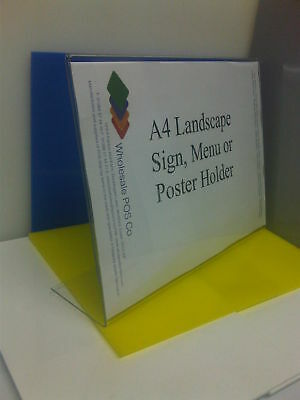 A4 Angled Poster Display Landscape Acrylic Menu Perspex Counter Standing Holder
