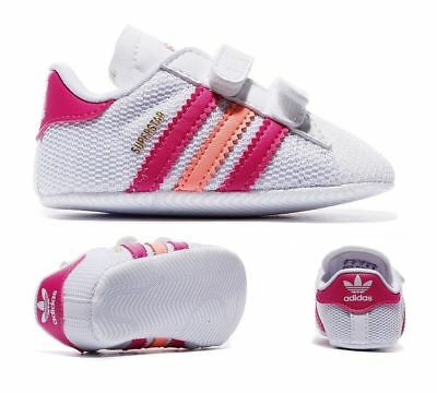 Adidas superstar baby walker trainers Crawl Shoes White/Peach/Pink (#11368)