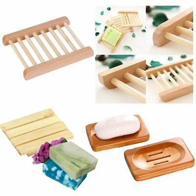 Wood Wooden Soap Dish Storage Tray Holder Soap Box Bath Shower Plate Bathroom RO