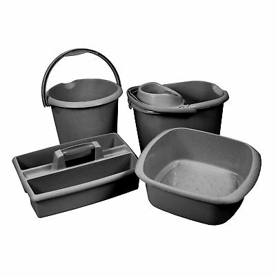 4PC Heavy Duty Home Cleaning Kit - Mop Bucket, 13L Bucket, Bowl & Caddy Set.