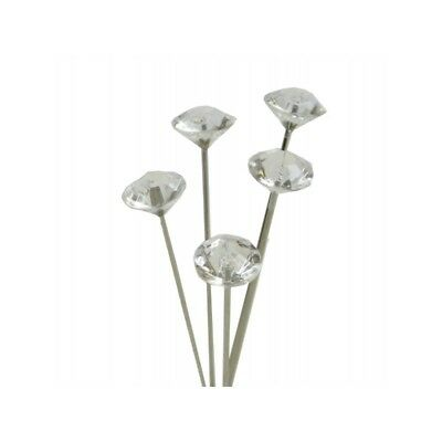 4cm or 5cm, Diamante Pins, Clear Acrylic Diamond Shaped Head, Florist