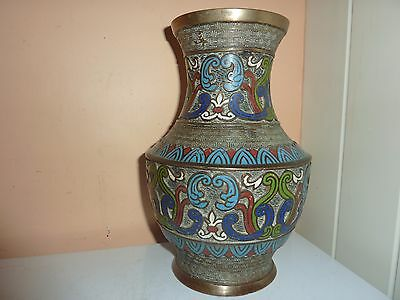 Early 20Thc Japanese Champs Levee Cloisonne 23.8 Cm Vase With Pattern Background