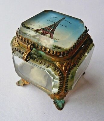 Antique French jewellery casket, ormolu Eglomise Eiffel tower Grand tour- Lovely