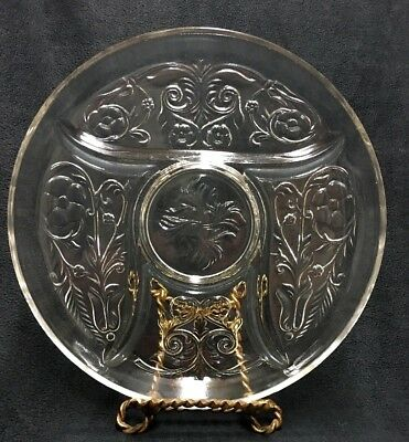 McKee Rock Crystal 5 Part Divided Relish Dish, Clear Depression Glass Tray Plate