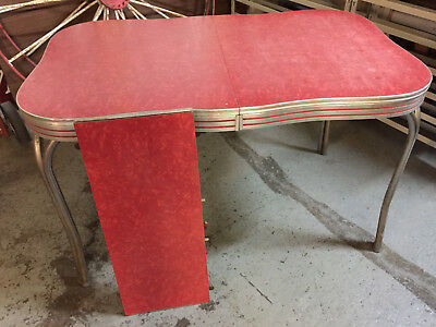 1950's Red Ice Formica Top ChromeTable with Leaf