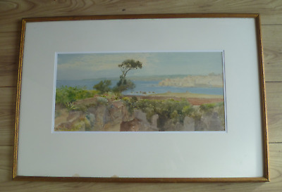 Early 20th century painting Mediterranean painting scene signed john Varley