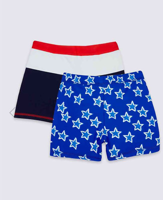 Boys M&S 2 Pack Swim Shorts NWT 3-6 6-9