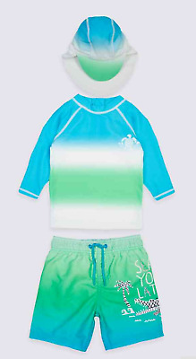 Boys M&S 3 Piece Sun Protection Suit Outfit NWT 3-6 6-9 9-12