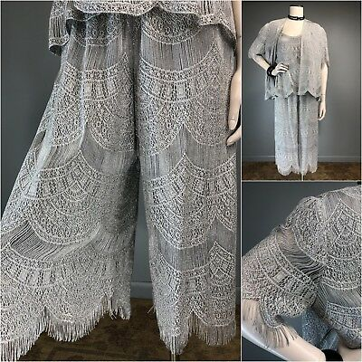 Vtg Damianou Fringe Gray Silver Deco Lace Pant Top Jacket 3pc Set XL Flapper mob