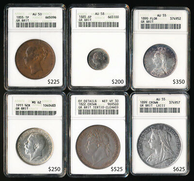 (1822-1911) Six British Coins ### Anacs Graded ### Cat Value $2000+ >No Reserve