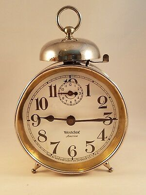 Antique 1920's Westclox USA America Wind Up Art Deco Alarm Clock