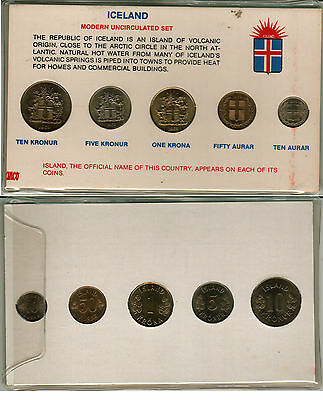 Uncirculated Coin Set From Iceland In A Holder