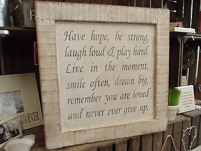 Solid Wood Shabby Chic Plaque Sign Wooden Wall Art Handmade By Austin Sloan