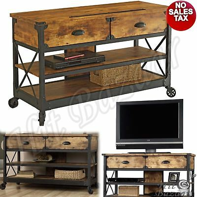 SOFA TABLE INDUSTRIAL TV Stand Rustic Console 2 Drawers Wheeled Media  Cabinet