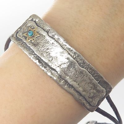 Vtg 925 Silver Gold Accent Turquoise Leather Judaic Star of David ID Bracelet 8""
