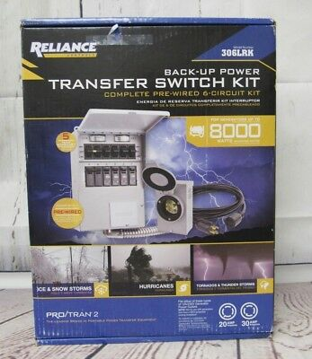 Reliance 306LRK Back-Up Transfer Switch Complete Pre-Wired 6-Circuit Kit-NEW