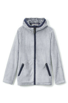 NEW $49 Lands End Girls 'SOFEST FLEECE JACKET' Hooded Big Girls S (7-8) SILVER