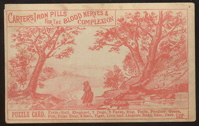 1880s PUZZLE T C ADVERTISING CARTER'S IRON PILLS FOR THE BLOOD, NERVES ++