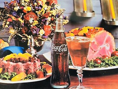 "VINTAGE COCA COLA 1960'S METAL TRAY HAM DINNER FLOWERS CANDLES Jello 18.5""X13.5"""