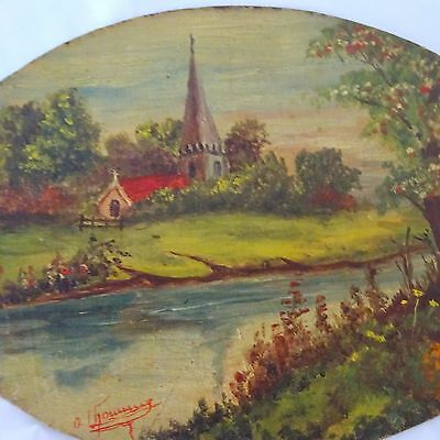 Vintage Oil Painting Art Nouveau French Antique Signed Original France.