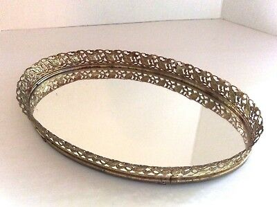 Vintage Vanity Tray, 1960's,Gold Tone Filigree,Perfume Tray,Pin Up Girl Gift