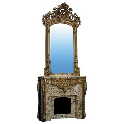 Mantle, Louis XVI Gilt-Wood and Marble w Over Mirror  #4458