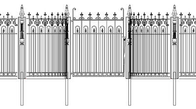 Custom Cast Iron Entry Gate & Fencing #9177