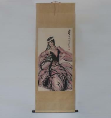 Huang Zhou Signed Old Chinese Hand Painted Lady of Xinjiang Calligraphy Scroll