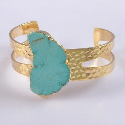 Blue Howlite Turquoise Bangle Gold Plated B055419