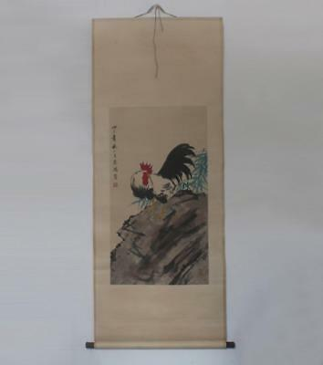Xu Beihong Signed Old Chinese Hand Painted Cock Calligraphy Scroll