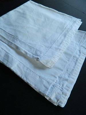 Pair of vintage French linen metis square Oxford pillowcases with whipcord hems.