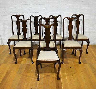 Antique vintage 8 Queen Anne high back dining chairs