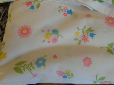 4 Pc Vtg Charm House Double Sheet & Pillowcase,Blue,Yellow Flowers,Hearts