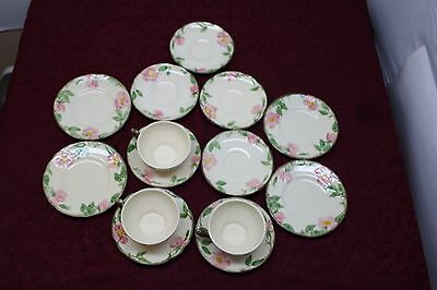 Franciscan Earthenware Desert Rose 3 Cups, 7 Cup Saucers, 4 Small Saucers