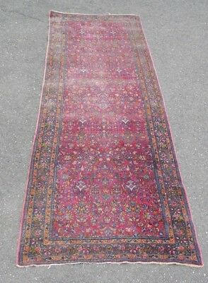 Antique Tightly Hand Woven Oriental Runner Rug Carpet 14 Feet Long Rose Colored