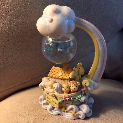 2001 Precious Moments Welcome Aboard Noah's Ark Mini Snow Globe-Baby -EXCELLENT