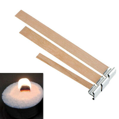 10 x 3Sizes Candle Wood Wick with Sustainers Tabs Candle Making Supply Nice