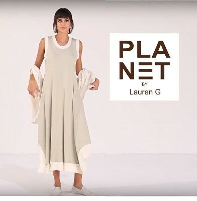 PLANET by Lauren G 844T Spa Jersey ELEGANT TANK DRESS  Pockets SS 2018 FOG/WHITE