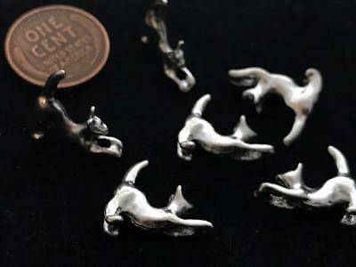 Old Stock 5 x 15mm Solid Silver Tone Metal Stretching Cat Beads Charms 6