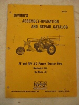 Operators Manual Minneapolis Moline Af & Afh 3-2 Furrow Tractor Plow 1955