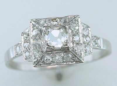 Antique GIA Certified 3/4ct French Cut Diamond Platinum Art Deco Engagement Ring
