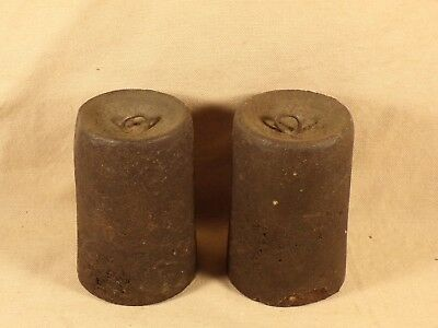 Antique Pair OG Shelf Clock Weights Cast Iron