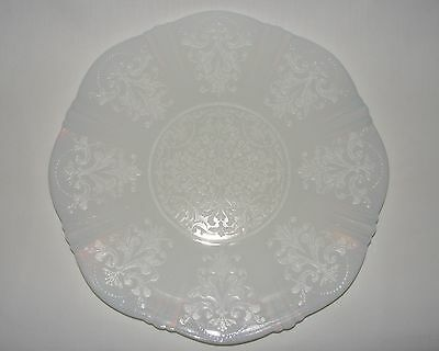 "VINTAGE 1930's MILK WHITE DEPRESSION GLASS 12"" CAKE TRAY DESSERT PLATTER ~ MINT"