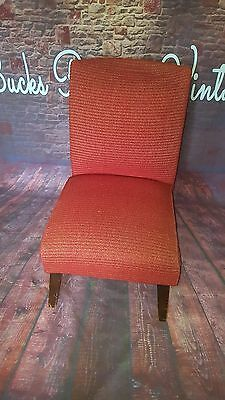 Vintage Retro Mid Century Red Chair Low Cocktail Seat Modernist