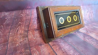 Antique Wooden 3 Window Servants Butlers Bell Box Room Indicator Edwardian
