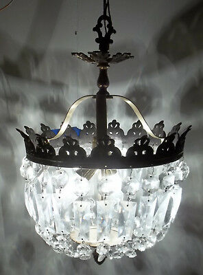 Antique Vintage Hanging Chandelier Bronze Brass Crystal Fixture Light Light