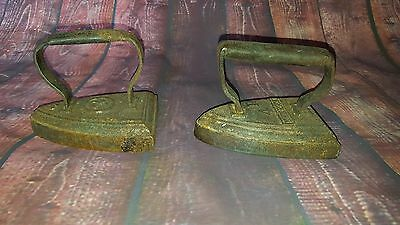 Antique Vintage Old Pair Cast Iron Met Solid Fire Irons Fireplace Open Log Fire