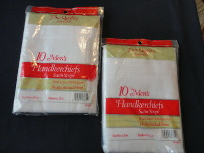 Vintage  Men's White Handkerchiefs 2 packages of 10 Made in the U.S.A.