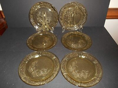 """6 Amber Sharon Cabbage Rose Pattern 9.5"""" Dinner Plates by Federal Glass"""