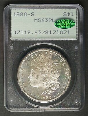 1880-S Proof-like Silver Morgan Dollar, PCGS MS63PL + CAC, Old Green Holder OGH